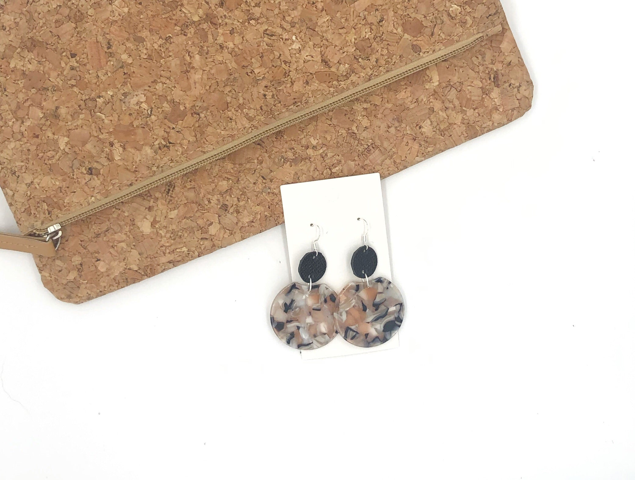 Neutral Crescent Leather and Acrylic Earrings