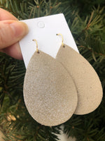 Beige Shimmer Leather Teardrop