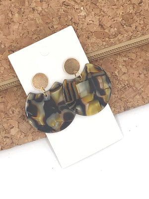 Gold and Brown Crescent Acrylic Earrings