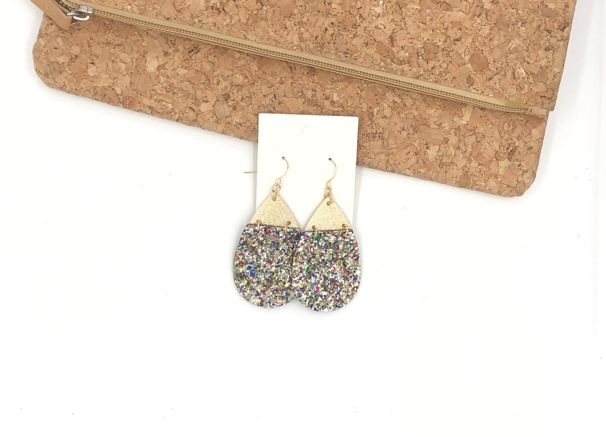 Glitter Linked Teardrop Earrings