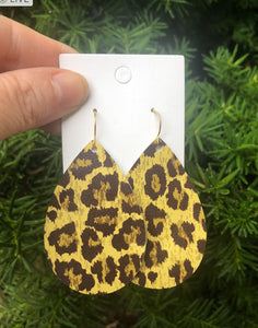 Yellow Cheetah Teardrop Earrings