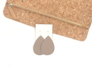 Cappuccino Saffiano Leather Teardrop Earrings