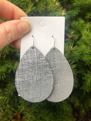 Charcoal Lux Linen Earrings