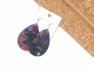 Colorful Black Floral Leather Earrings