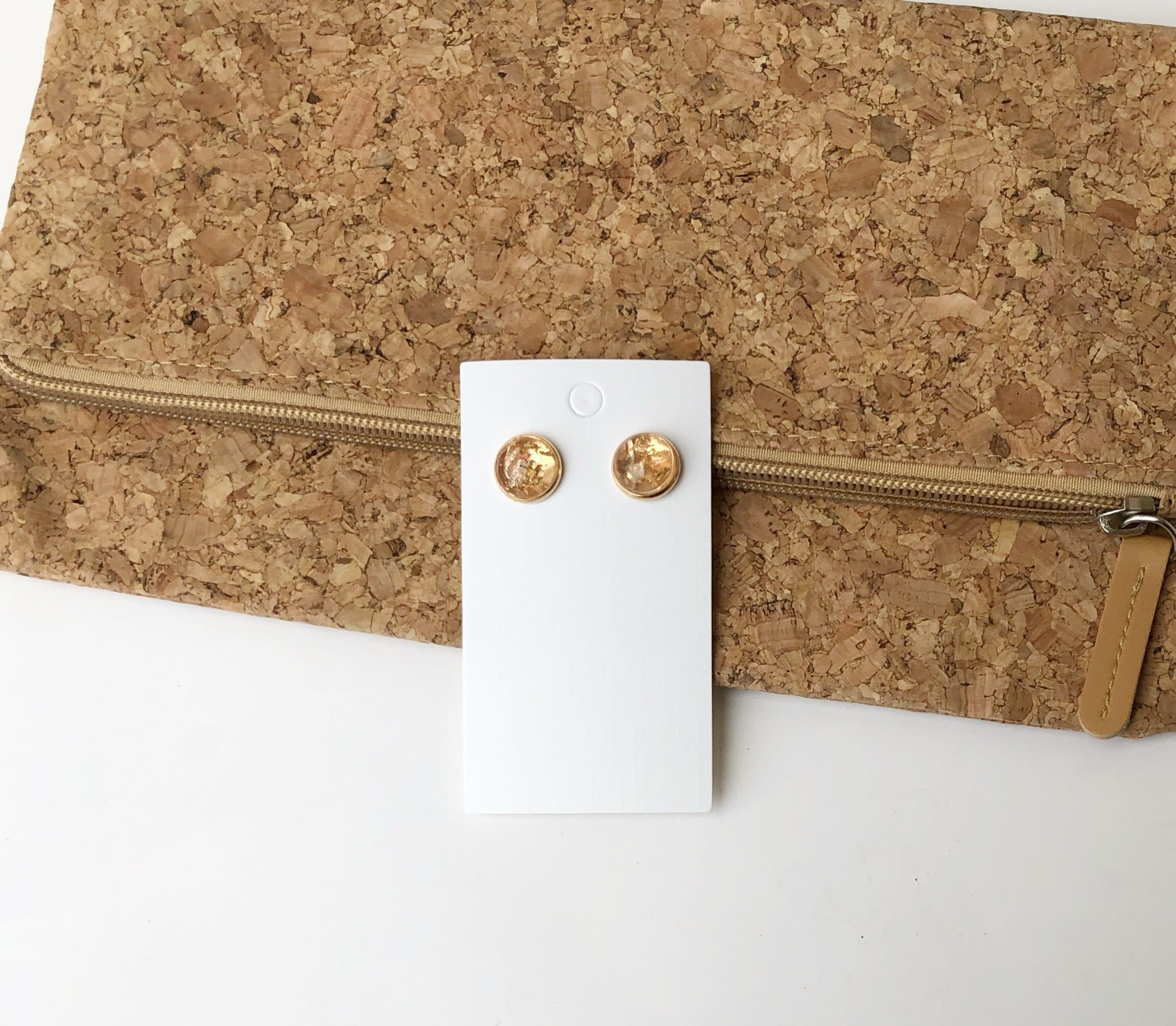Gold Flaked Stud Earrings