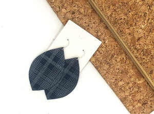 Navy Plaid Leaf