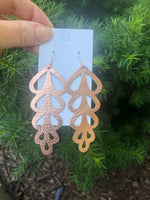 Rose Gold Ivy Leather Earrings