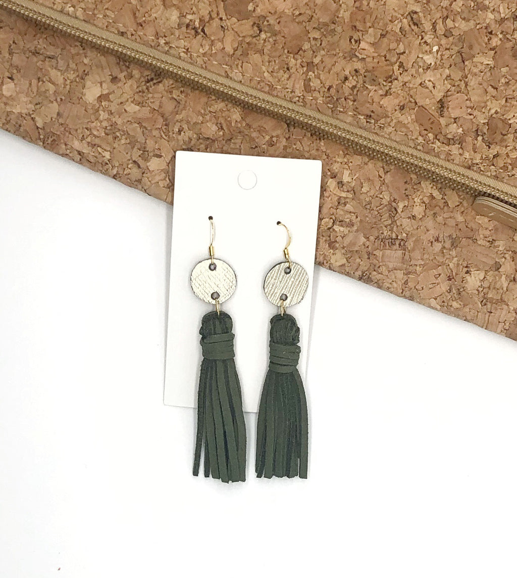 Olive Green Circle Tassel Earrings
