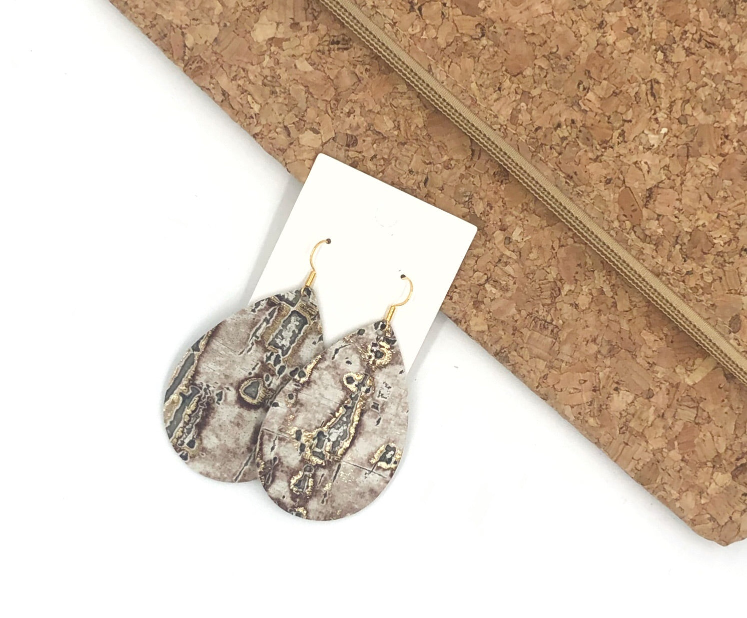 Rustic Birch Leather Teardrop Earrings