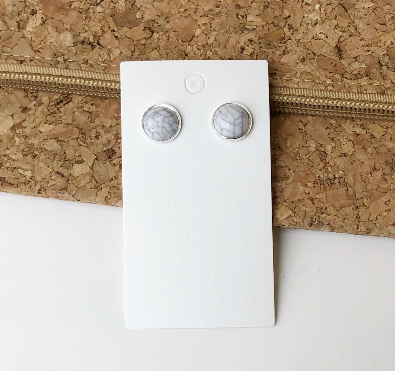 White Marble Stud Earrings