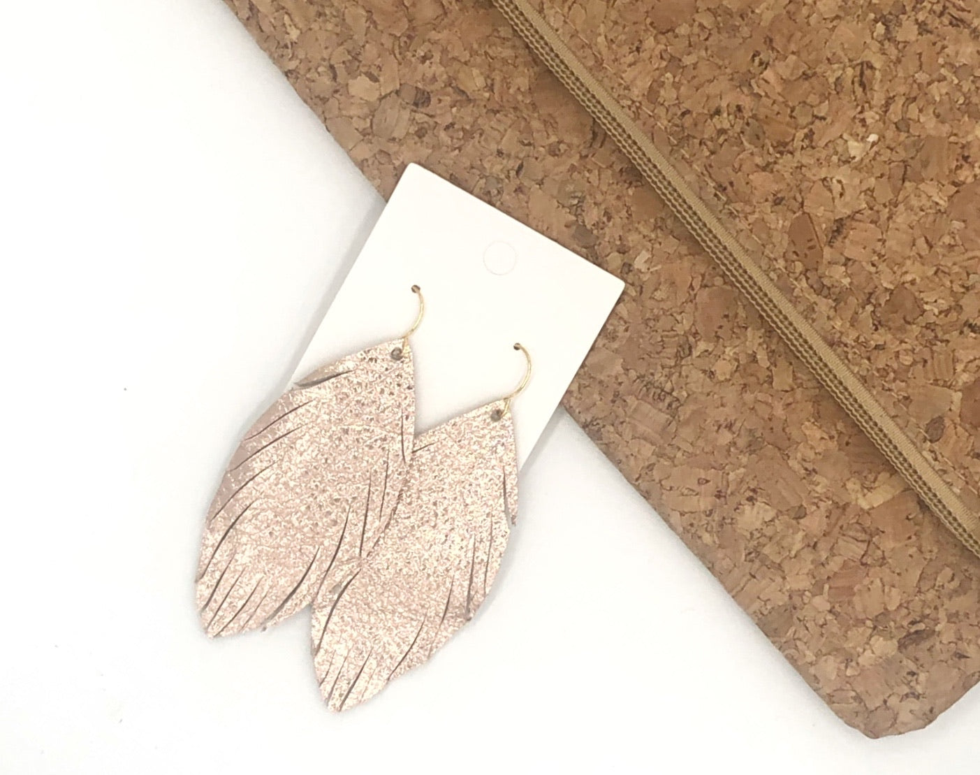 Rose Gold Feather Fringe Earrings