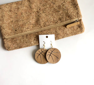Wood Basketball Earrings