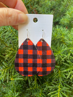 Red Black Buffalo Plaid Cork Bonded to Leather Teardrop