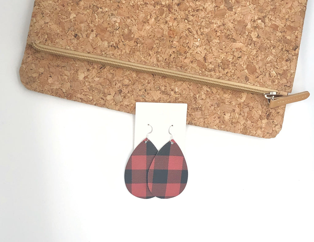 Red Black Buffalo Plaid Leather Teardrop Drop Earrings