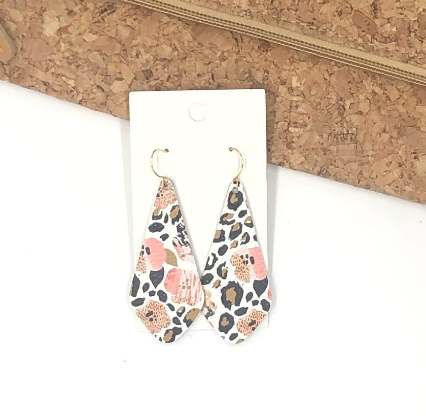 The Em Floral Leopard Leather Earrings