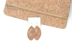 Rustic Gold Marquis Leather Earrings