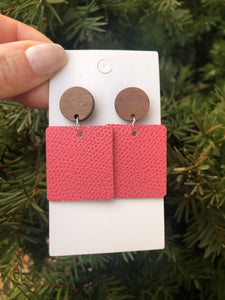 Coral Block Drop Earrings- Hook or Wood Post