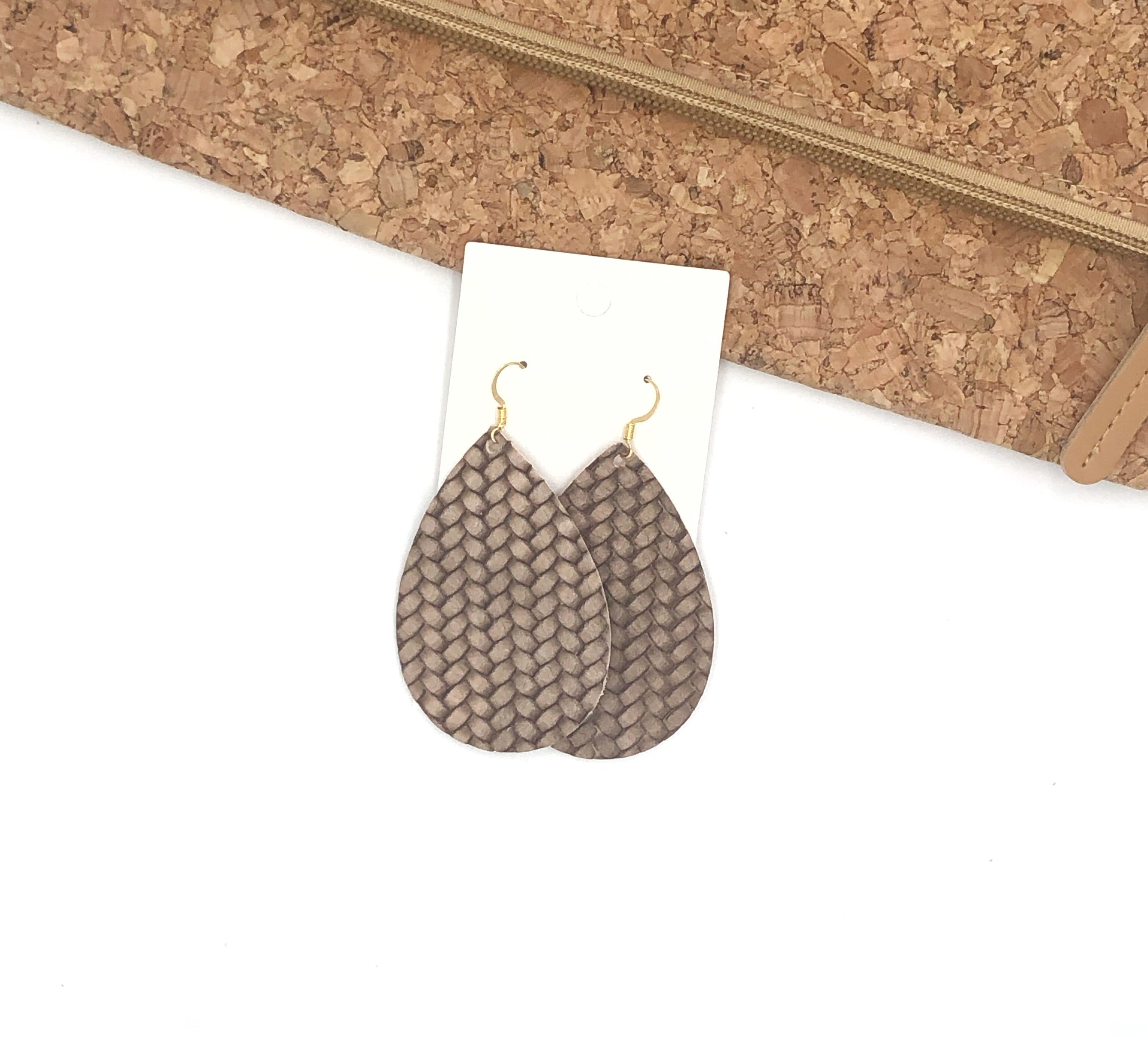 Mocha Braided Leather Teardrop Earrings