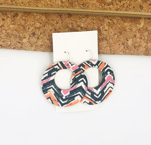 Orange Pink Chevron Cork bonded with Leather Circle Cutouts