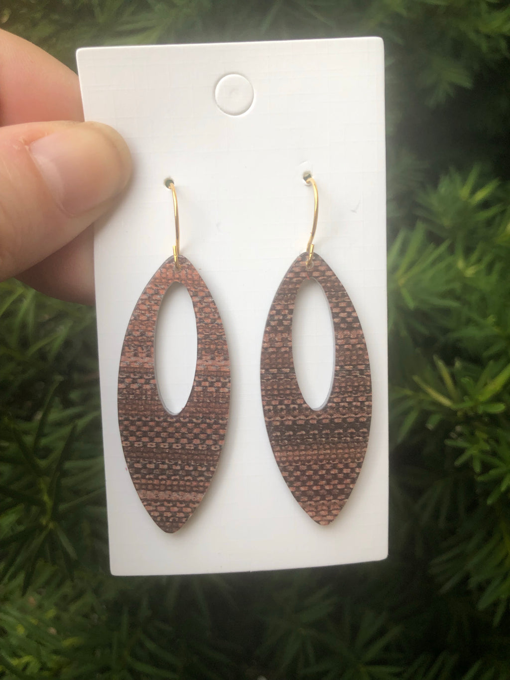 Brown Marquis Cutout Acrylic Earrings