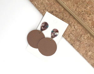 Cinnamon Brown Disc Post Earrings