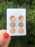 Pink Gold Flake Stud Trio Earrings