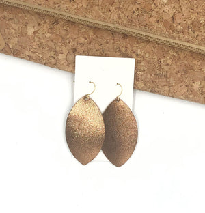 Bronze Shiny Marquis Leather Earrings