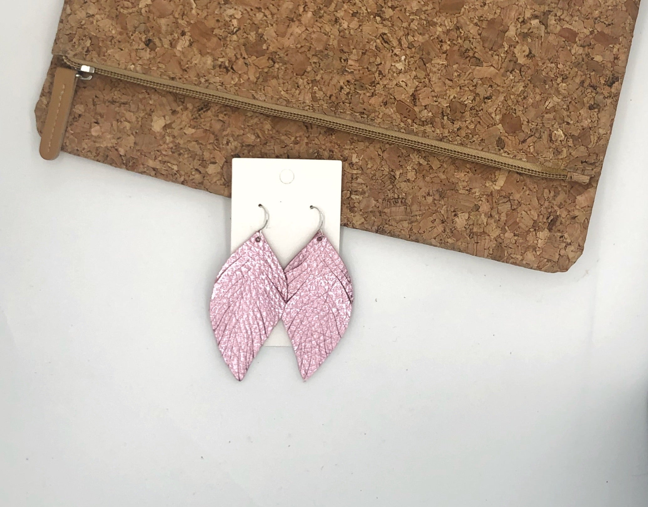 Pink Metallic Leaf Fringe Earrings