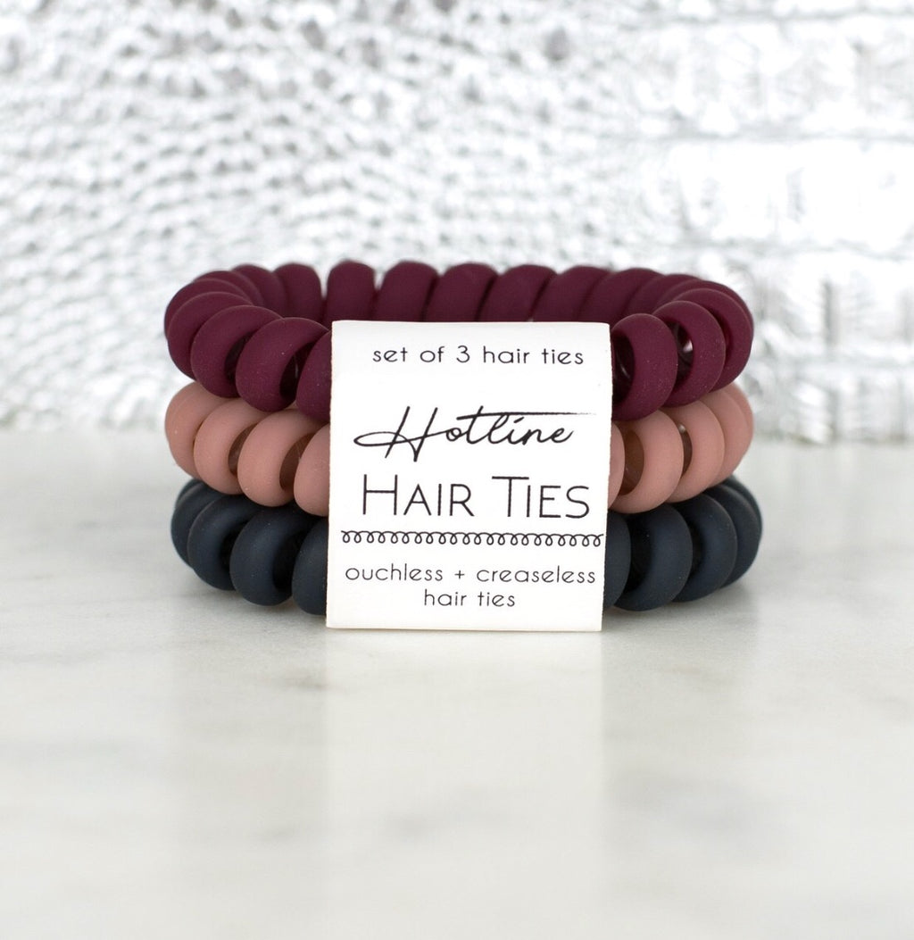 Red Velvet Matte Hair Tie Set
