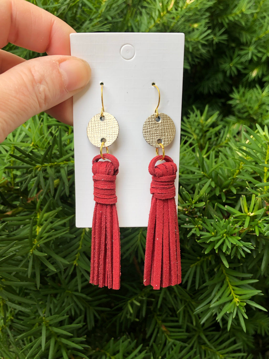 Burgundy Circle Tassel Earrings