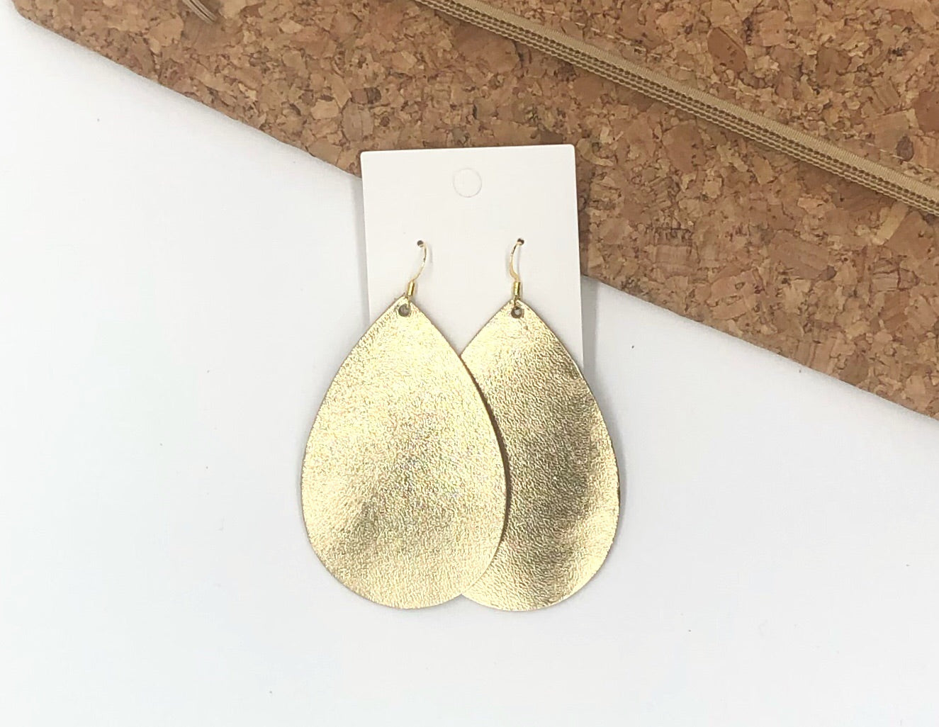 Gold Shiny Leather Teardrop Earrings