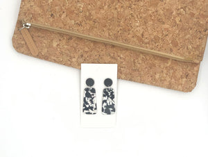 Black and White Bell Acrylic Earrings
