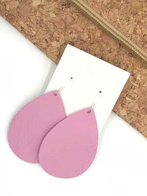 Pink Blush Teardrop Drop Leather Earrings