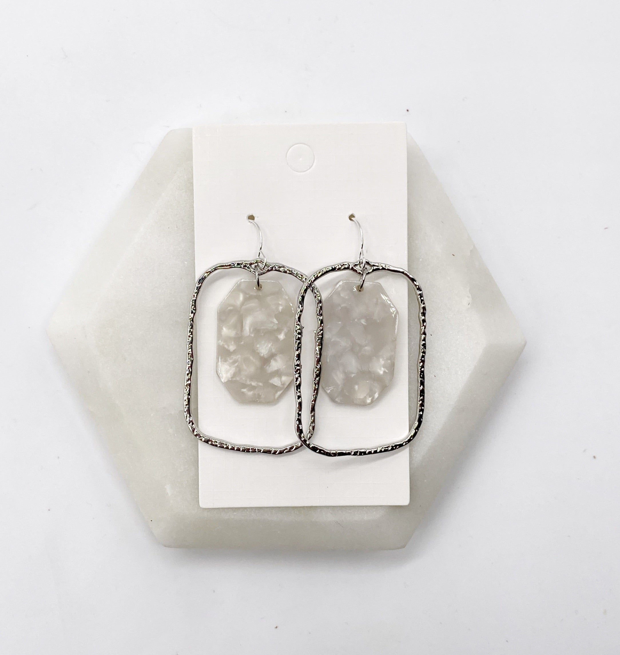 Ivory and Silver Chandelier Earrings