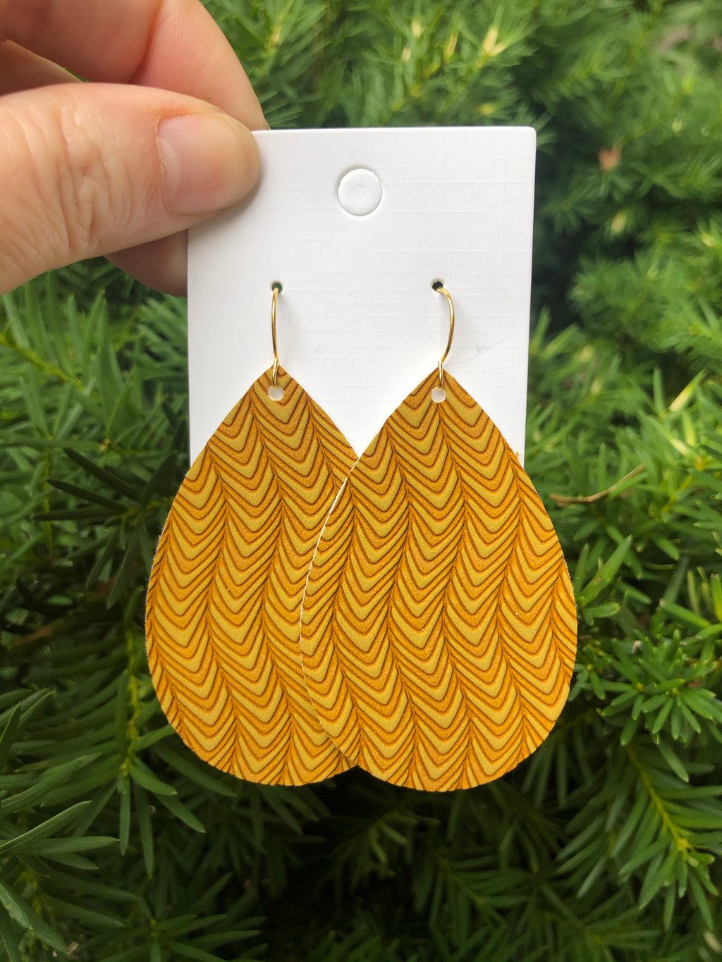 Mustard Yellow Retro Wave Faux Leather Earrings