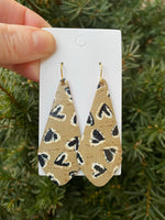 Leopard Heart The Em Cork Bonded to Leather Earrings