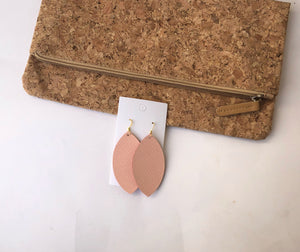 Peach Leather Marquis Earrings