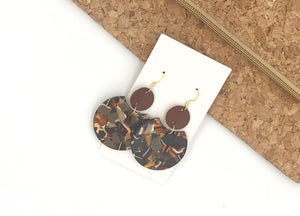 Fall Crescent Leather and Acrylic Earrings