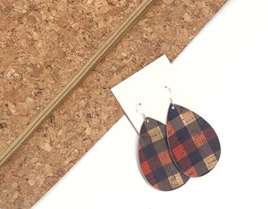 Red and Blue Buffalo Plaid Cork Teardrop