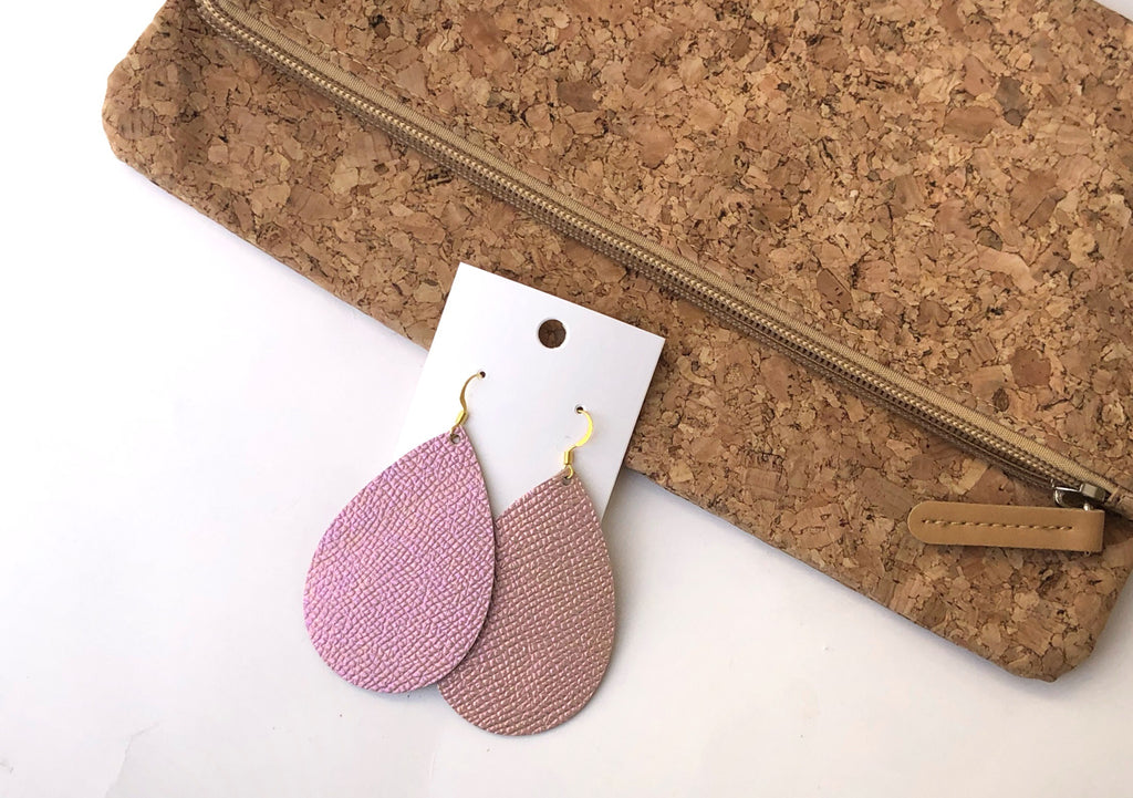 Pink Iridescent Leather Teardrop Earrings