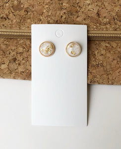 Ivory Gold Flaked Stud Earrings