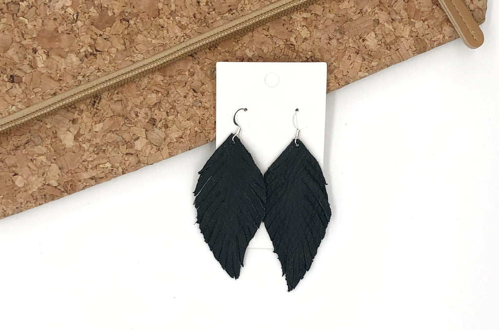 Black Leaf Fringe Earrings