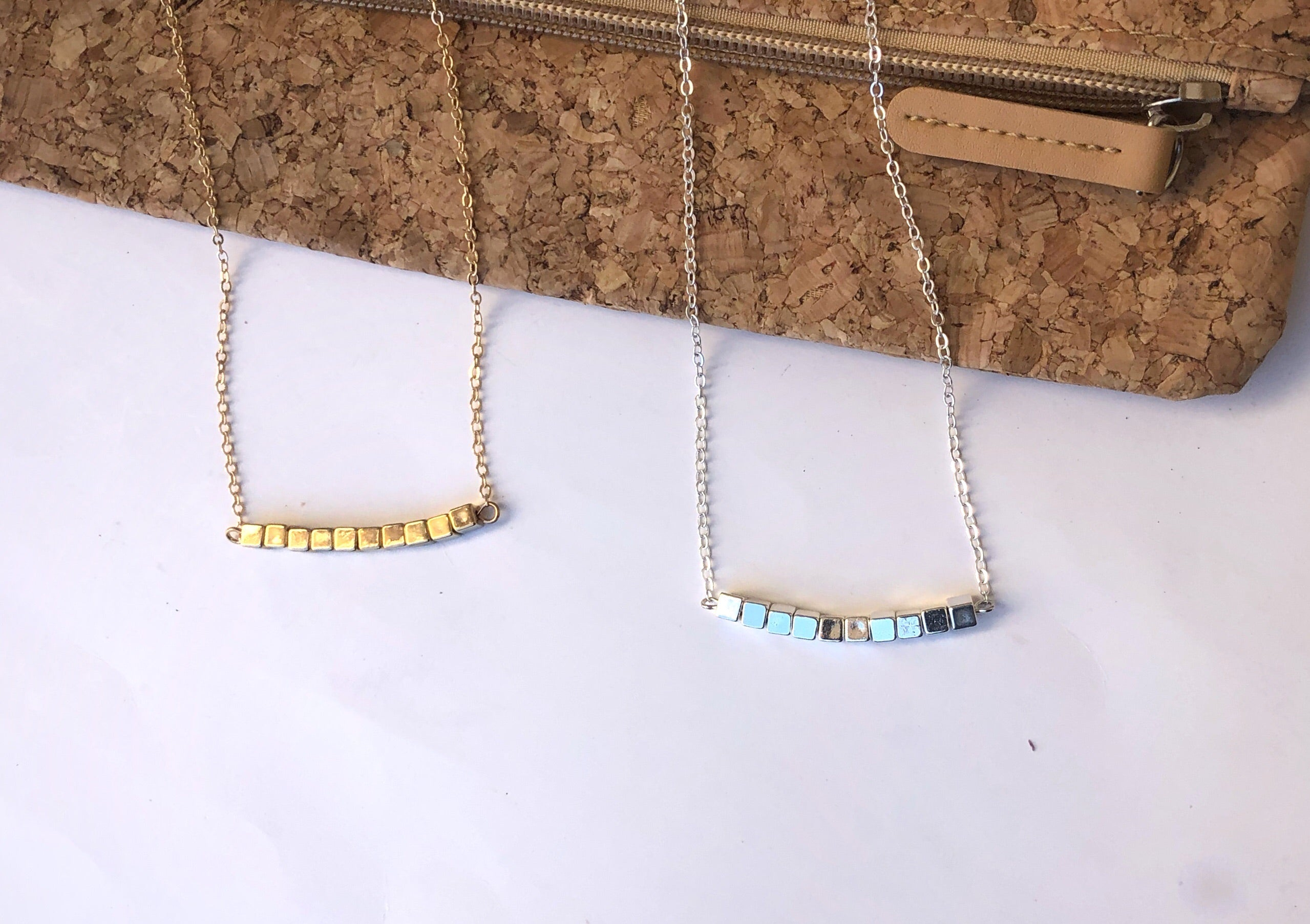 Gold or Silver Block Necklace