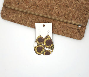 Sunflower Teardrop Drop Leather Earrings