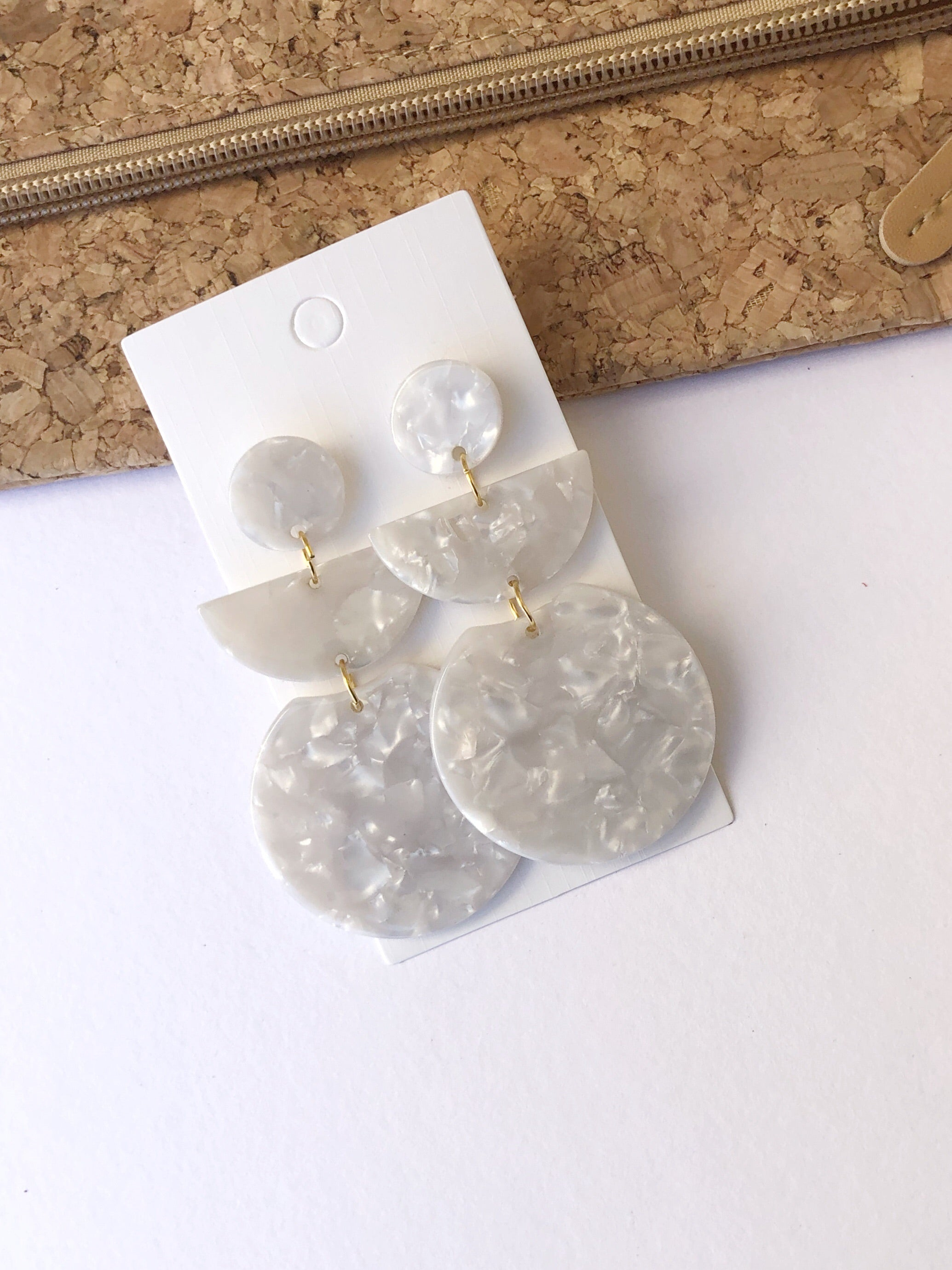Ivory Crescent Art Deco Acrylic Earrings