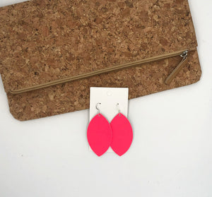 Cajun Pink Marquis Leather Earrings