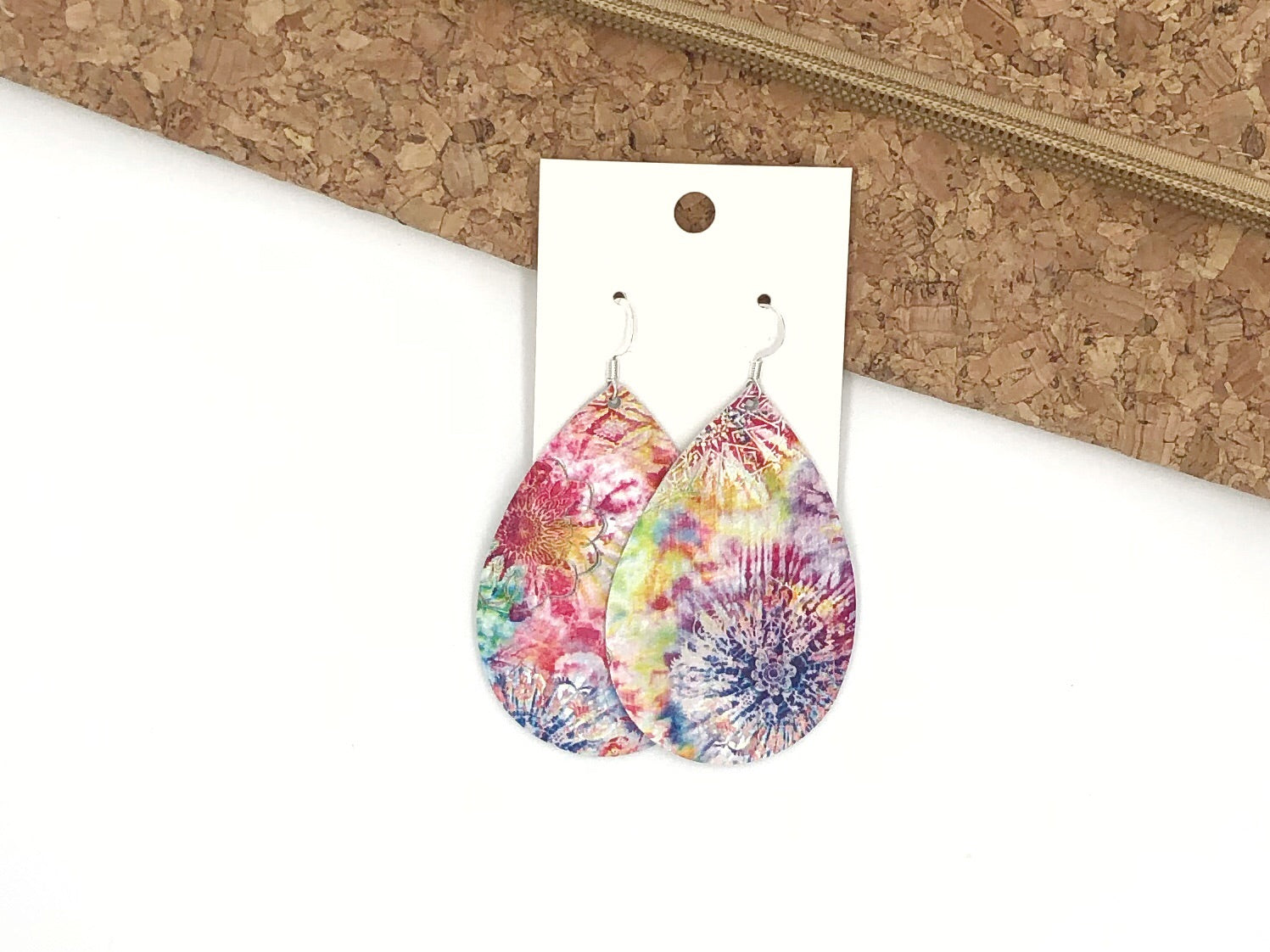 Tie Dye Teardrop Leather Earrings