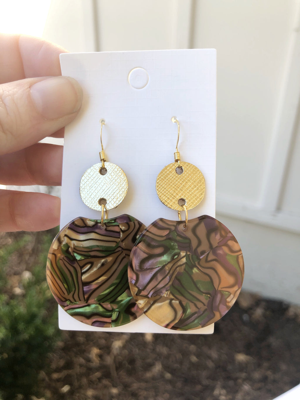 Gold and Brown Crescent Leather and Acrylic Earrings