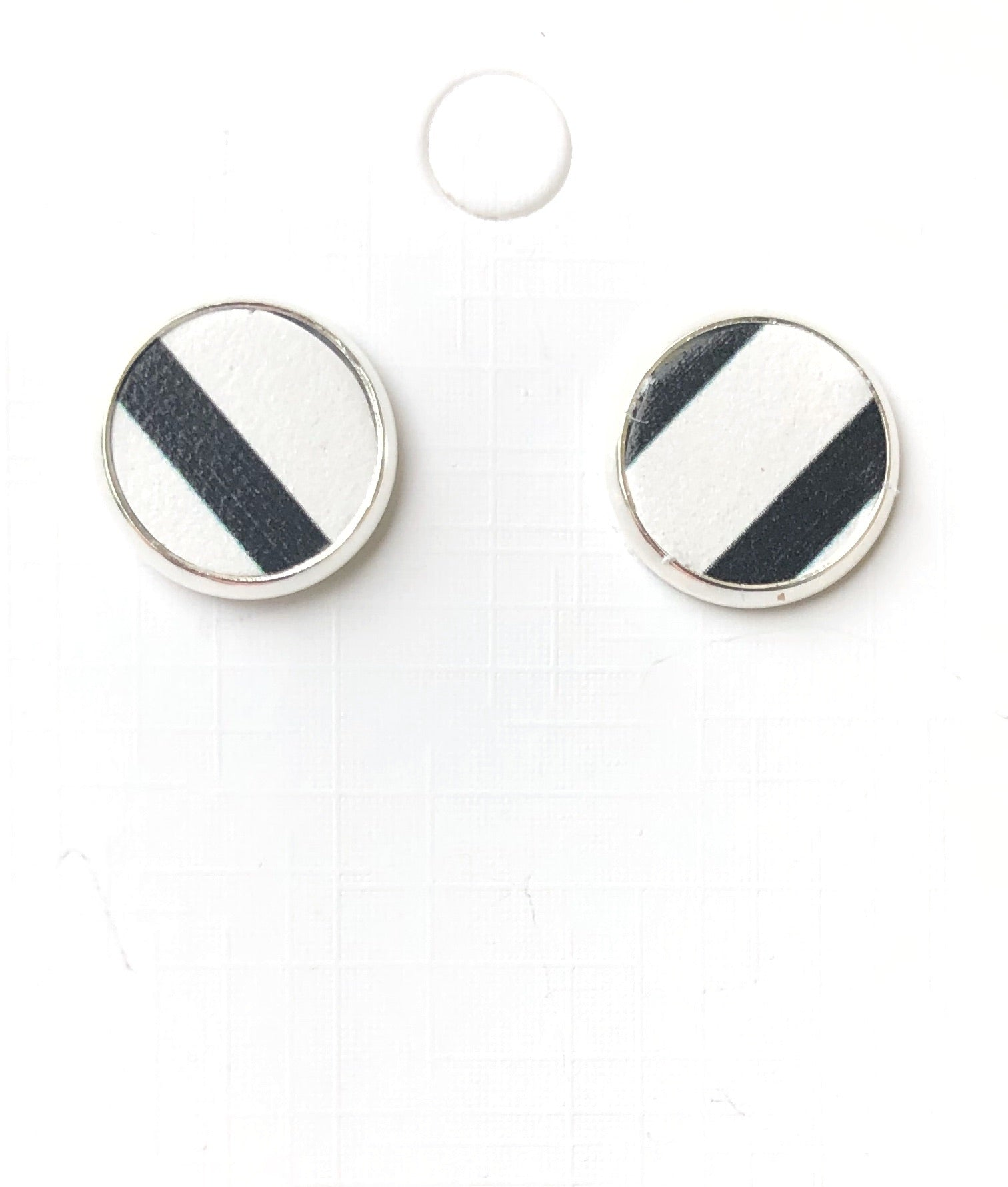 Black and White Striped Leather Stud Earrings