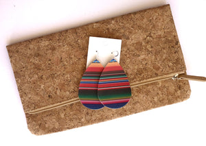 Serape Stripe Faux Leather Teardrop Earrings